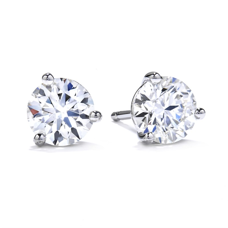 Diamond Solitaire Earrings by Hearts on Fire